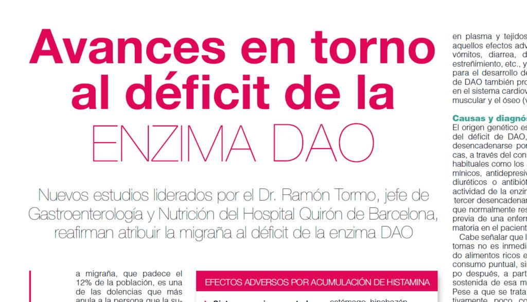 Avances en torno al déficit de DAO y migrañas, progress on the deficit of the enzyme DAO