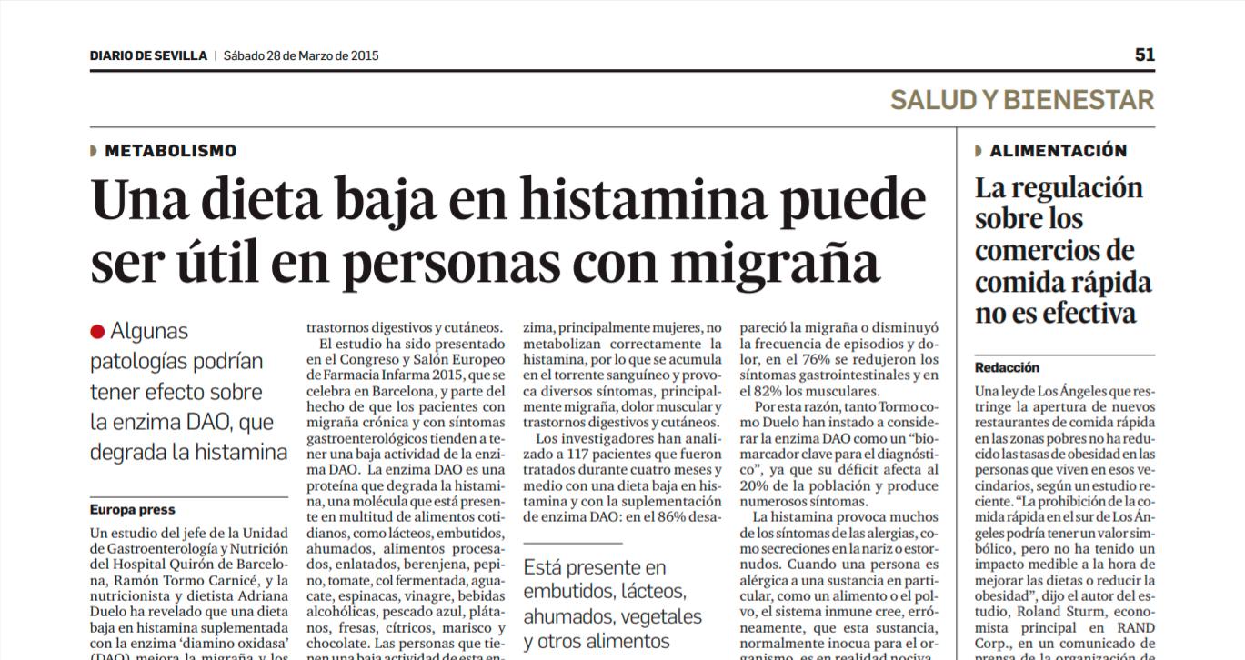 dieta de la migraña