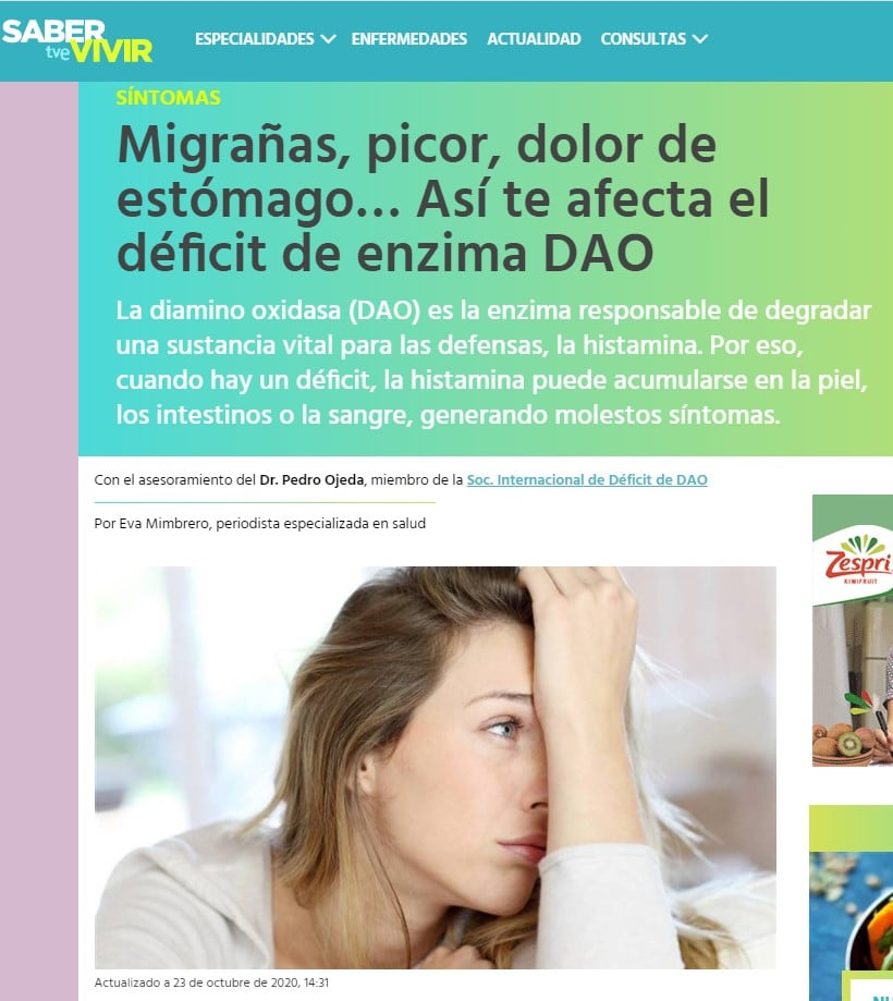 Migraña, picor, dolor de estómago Asi te afecta el déficit de DAO - SABER VIVIR tve - histamina